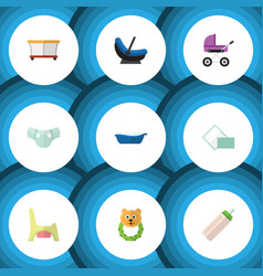 Flat icon infant set of stroller playground vector