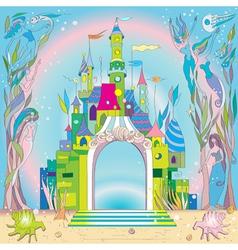 underwater castle vector image vector image
