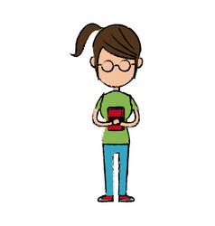 Girl school student cartoon young holding book vector