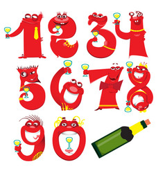 golden toy balloons and ribbons numerical digit vector image