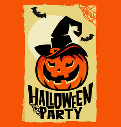 halloween pumpkin with witch hat vector image