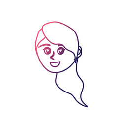 line avatar happy woman face with hairstyle design vector image vector image