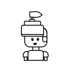 line warrior character to video game technology vector image vector image