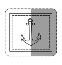 monochrome sticker frame with anchor vector image vector image