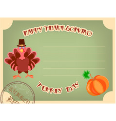 postcard happy thanksgiving in retro style vector image vector image