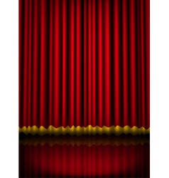 Red velvet theater stage curtain with golden vector image