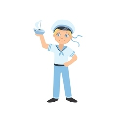 Boy Dressed As Sailor Holding Toy Boat vector image vector image