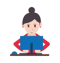 cute girl using blue computer working vector image