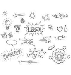 Hand drawn comic elements vector