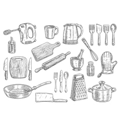 Kitchen utensils and appliances isolated sketches vector image