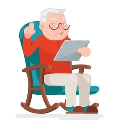 Web Surfing Online Shopping Old Man Character Sit vector image vector image