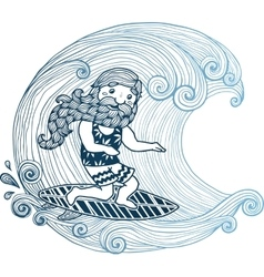Doodle surfer with long beard at short board in vector image vector image