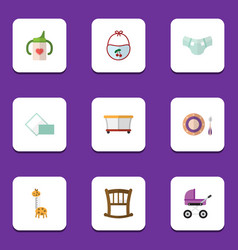 Flat icon kid set of playground baby plate toy vector