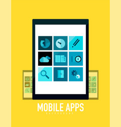 flat mobile apps on tablet concept vector image vector image