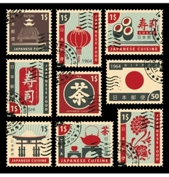 postage stamps on Japanese cuisine vector image vector image