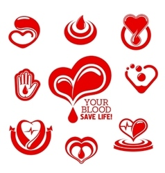 Red hearts and helping hand with drops of blood vector image vector image
