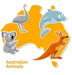 Set of stickers with australian animals and map as vector image