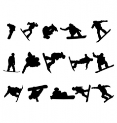 snowboarde man silhouette set vector image