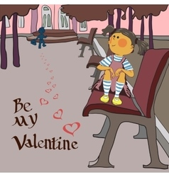 valentines day girl in the Park vector image vector image
