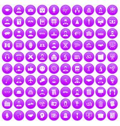 100 intelligent icons set purple vector