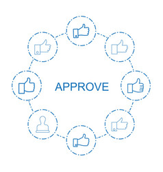 8 approve icons vector image