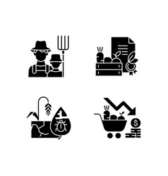 Agribusiness black glyph icons set on white space vector