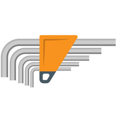 Allen wrench hex key icon flat isolated vector
