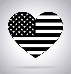 American flag in heart shape black and white vector
