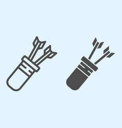 Arrow and quiver line and solid icon leathern bag vector