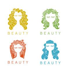 beauty salon spa logo female face vector image