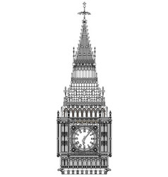 Big ben line drawing vector