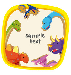 border template with different types of dinosaurs vector image
