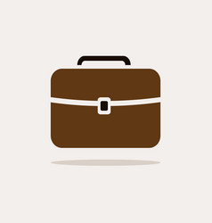 Briefcase icon with color and shadow on beige vector