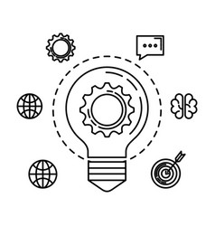 Bulb light with gear and business icons vector