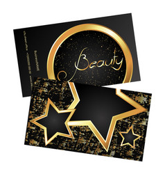 business card beauty gold vector image