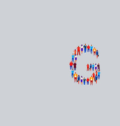 business people crowd forming shape letter g vector image