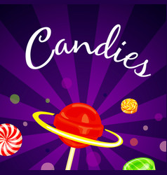 candies concept background cartoon style vector image