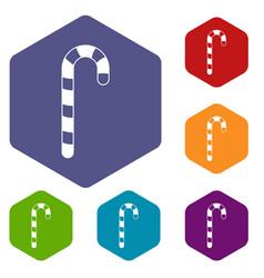 candy cane icons set hexagon vector image