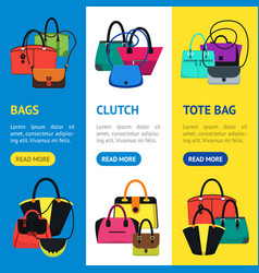 cartoon handbag or female bags banner vecrtical vector image