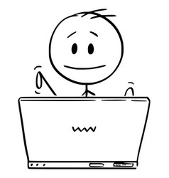 cartoon man or businessman working or typing vector image