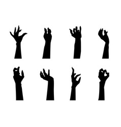 cartoon silhouette black zombie hand icons set vector image