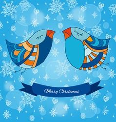 Christmas funny birdies vector