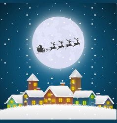 christmas santa claus flying on a sleigh over the vector image