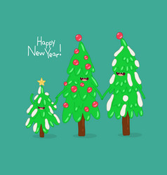 christmas trees are congratulated on new year vector image