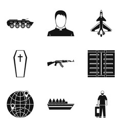 Contingent icons set simple style vector