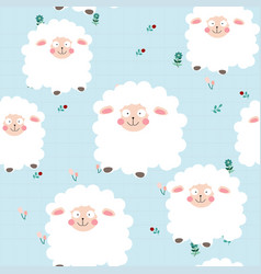 cute baby sheep or lamb in spring garden seamless vector image