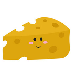 cute cheese with eyes on white background vector image