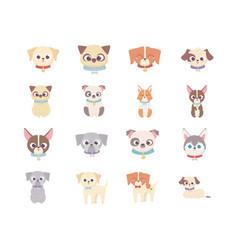 cute dog domestic cartoon animal set pets vector image