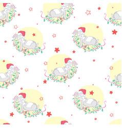 Cute rabbit with santa hat and giftbox seamless vector