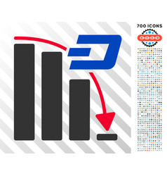 Dash falling acceleration chart flat icon with vector